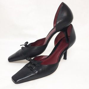 Ann Taylor Black Square Toe Heel Lace 7